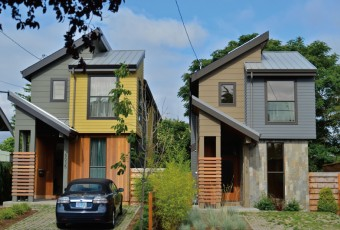 "Portland, Oregon, is considering whether to allow more tall ""skinny"" homes, constructed on half the amount of land required  under single-family zoning."