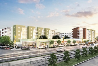 An architect's rendering shows a mixed-use condo development along Los Angeles' Metro Expo/Vermont rail line.