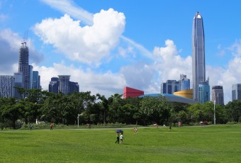 An image of Shenzhen, China with an expansive park in the foreground.