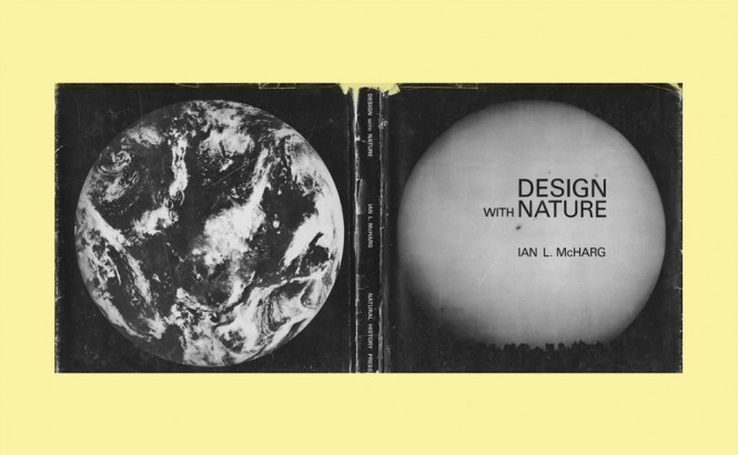 Black and white full cover of the book Design with Nature by Ian L. McHarg. The back cover shows the planet Earth from space with no type, and the front cover shows a large moon rising over a cityscape. The moon, like the Earth on the back cover, takes up almost all of the space on the cover.