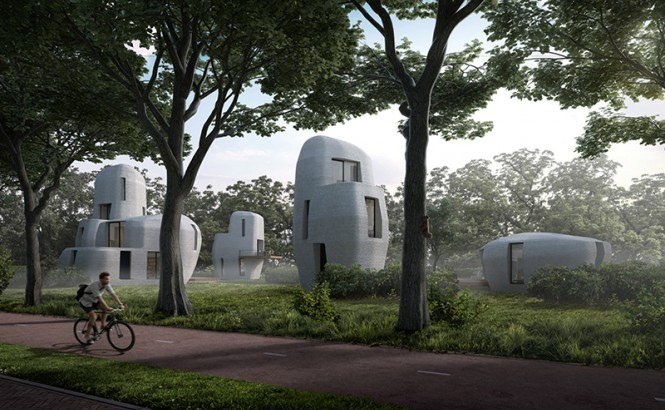 An architect's rendering shows four grey, rounded, and futuristic-looking homes along a tree-lined street with a bicyclist riding along a bike lane in the foreground. Credit: Houben en Van Mierlo Architects