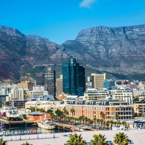 This image shows the city of Cape Town, South Africa, with Table Mountain as the backdrop.