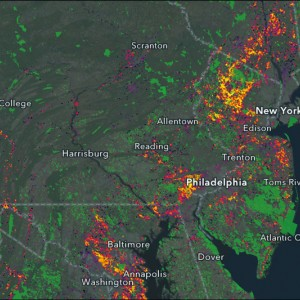 Map shows New Jersey, and parts of Maryland, Virginia, Delaware, Pennsylvania, New York, and Connecticut. Social and environmental data are highlighted by additional colors on the map.