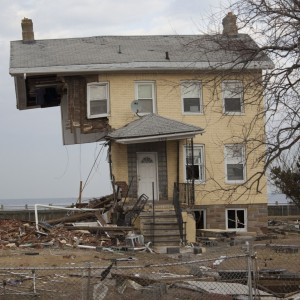 A New Jersey house partially destroyed by Hurricane Sandy