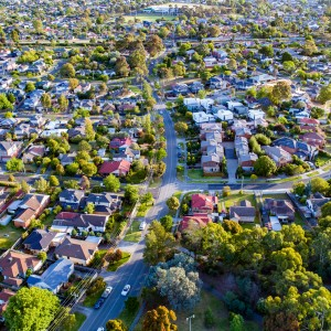 An aerial photo depicting a residential neighborhood.