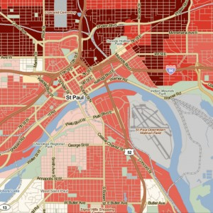 This map, created through The Place Database, shows housing affordability in Saint Paul, Minnesota
