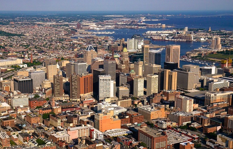 Aerial view of the city of Baltimore.