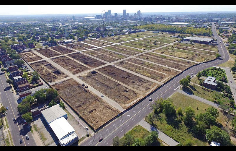 Aerial view of vacant lots on the outskirts of the city of St. Louis, Missouri
