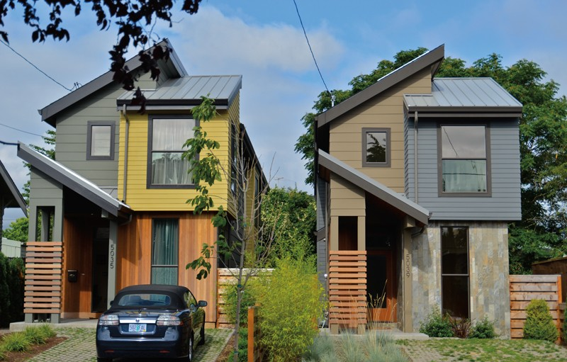"""Portland, Oregon, is considering whether to allow more tall """"skinny"""" homes, constructed on half the amount of land required  under single-family zoning."""