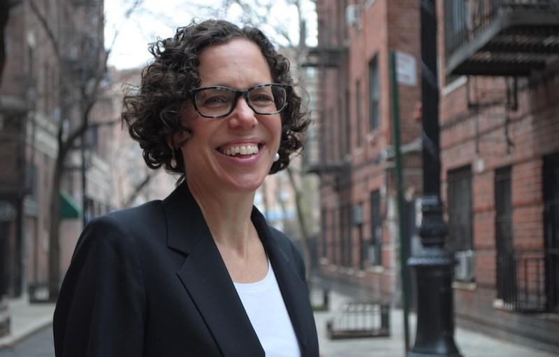 Ingrid Gould Ellen stands on city street