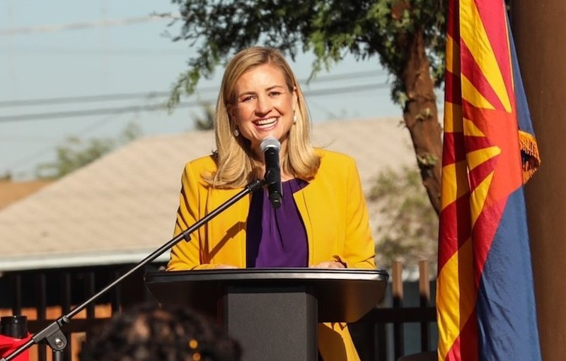 Mayor Kate Gallego speaks from a podium.