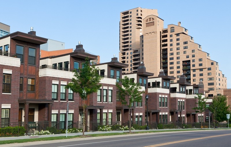 A row of brick housing in Minneapolis.