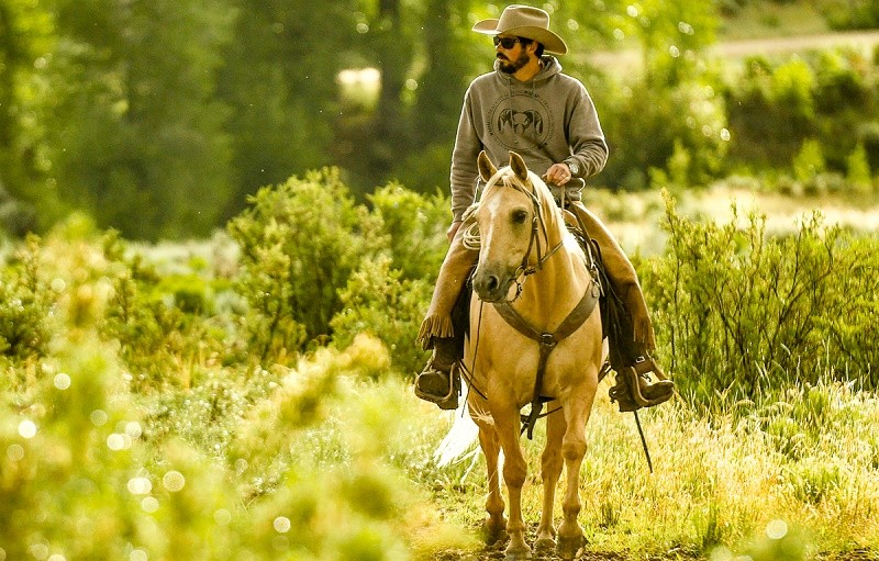 Colorado rancher Paul Bruchez rides a horse in a green field.