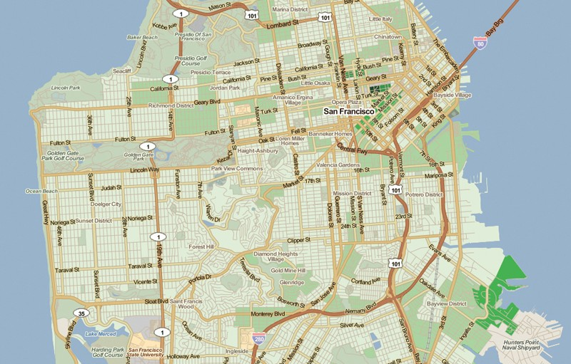 Map of San Francisco with areas with low percentages of affordable housing indicated in light green.
