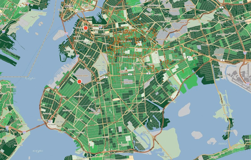 Map of Brooklyn, New York, showing parcels of land in different shades of green to indicate median gross rent of residents. Two red dots show the sites of mixed-use library/housing projects and orange diamonds show the locations of low-income housing tax credits.