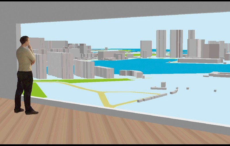 A virtual model shows the line of sight from inside an apartment toward a city skyline