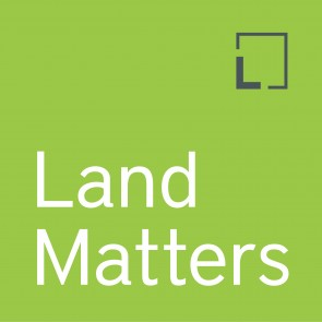 Land Matters Podcast Logo, a green square with the Lincoln Institute's logo and the text Land Matters