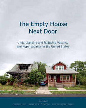 "Cover of the report titled ""The Empty House Next Door"" by Alan Mallach. Cover shows two houses side-by-side, one that looks lived in and the other that appears abandoned, with the roof caving in and the foliage around the house overgrown."