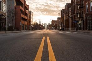 Chicago city empty street