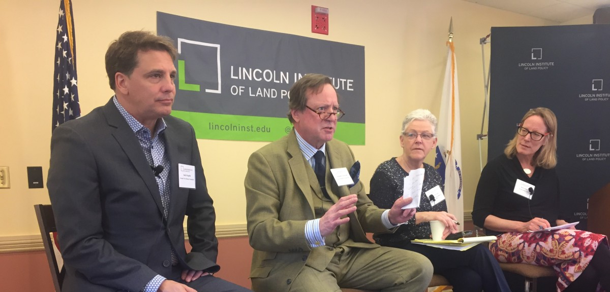 Left to right: Andrew Kopplin of the Greater New Orleans Foundation; Armando Carbonell of the Lincoln Institute of Land Policy; Gina McCarthy, former administrator of the Environmental Protection Agency; and Beth Daley of InsideClimate News